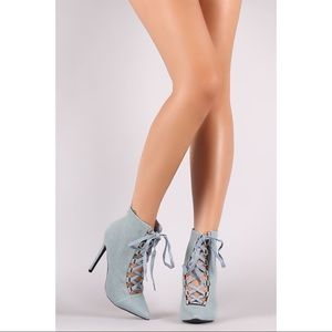 Shoes - Denim Corset Booties
